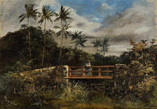 TELLES JÚNIOR, Jerônimo José,Paisagem,óleo stela, 1882 32 x 46 cm