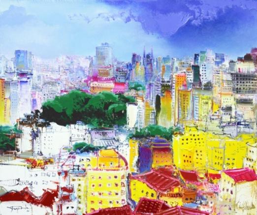 Yugo Mabe - Vista de São Paulo. Acrílica sobre tela, 86x102 cm, 2014
