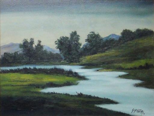 ALBERTO MATTERA (1926) - Paisagem com rio, óleo seucatex, 50 x 65. Assinado no c.i.d.