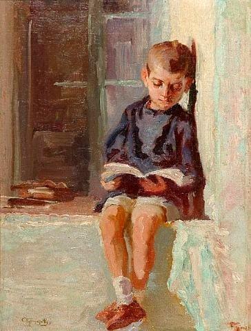 Alexandros Christofis (1882-1953) Boy reading