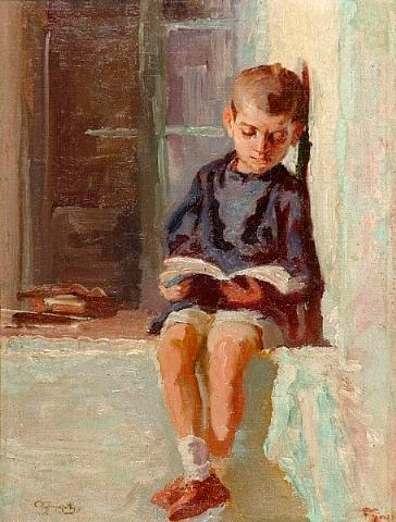 Alexandros Christofis (1882-1953) Boy reading