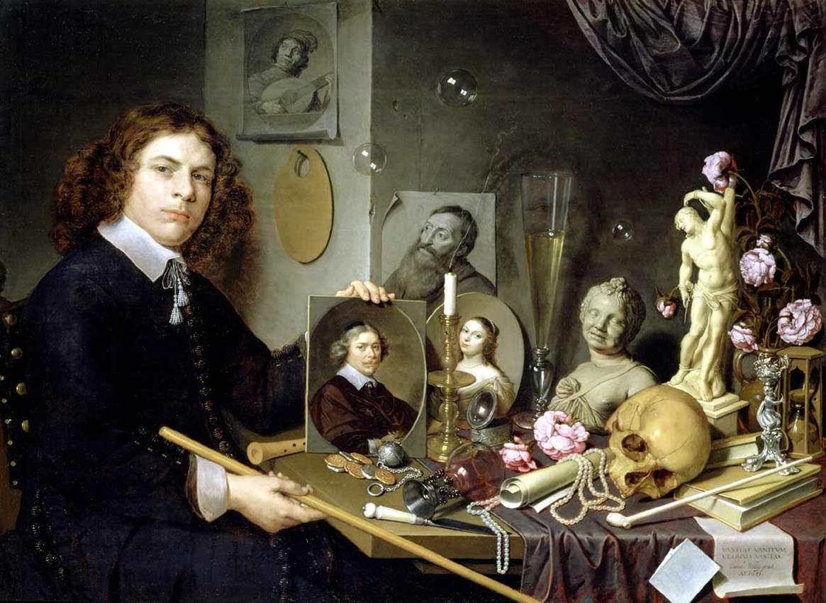 BAILLY, David, Self-Portrait with Vanitas Symbols, 1651,Oil on wood, 65 x 97,5 cm,Stedelijk Museum De Lakenhal, Leiden