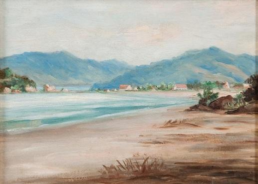 BENEDITO CALIXTO,Praia de Itararé,Óleo sobre Tela,22,5 x 32 cm