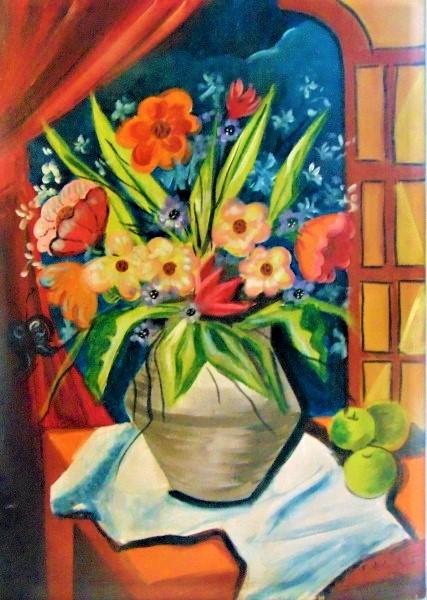 DI CAVALCANTI, o.s.t. Vaso de flores, 73 x 52 cm