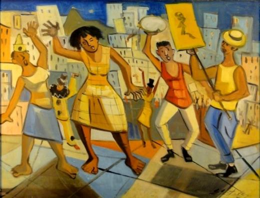 EDESIO ESTEVES (1916-). Bloco de Carnaval, óleo s tela, 60 X 73