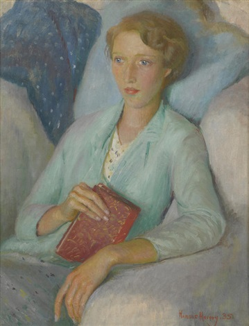 HAROLD HARVEY (BRITISH, 1874-1941) Portrait of Stella Mary Burdett, ost, 51 x 40 cm