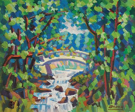 Inimá de Paula, A pequena ponte, caldas novas, Go, 1978, ost, 55 x 65 cm