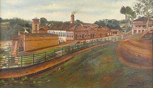 Joaquim Miguel Dutra (Brasil, 1864-1930)Fábrica em Piracicaba, 1903, ost, 60 x 100cm