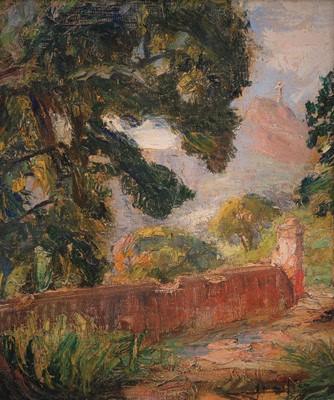 Lucílio de Albuquerque (Brasil 1887-1939) Paisagem Rj, Corcovado, 1935, Óleo sobre tela colada sobre cartão, 31 x 27 cm