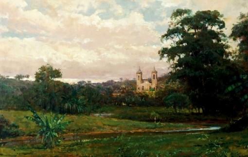 Mauro ferreira (1958) Paisagem com igreja em MG,2000, osm 45x70
