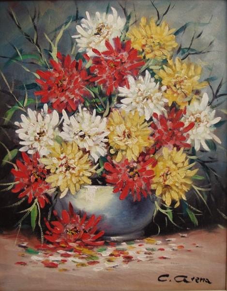 Claudio Arena - Vaso com Flores - Óleo sobre tela - 50x40cm