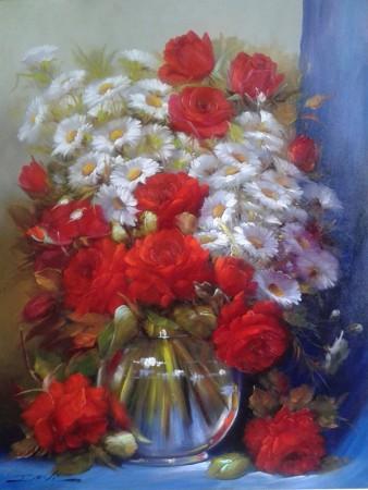 DAVI (DAGOBERTO VITOR)(Brasil, 1954-2018)- Floral, 2016. 60 x 80 cm. Davi