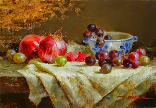 Luis Claudio Morgilli (Brasil, 1955) Natureza Morta, uvas, ost