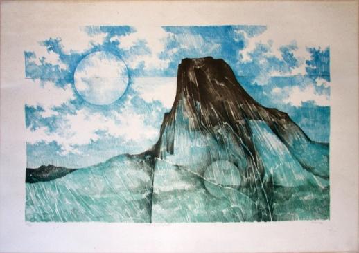 RENINA KATZ (1925) - Pedra da Gávea, serigrafia sobre papel, med. 50 x 70cm, tiragem 20-50, assinada e titulada a lápis,