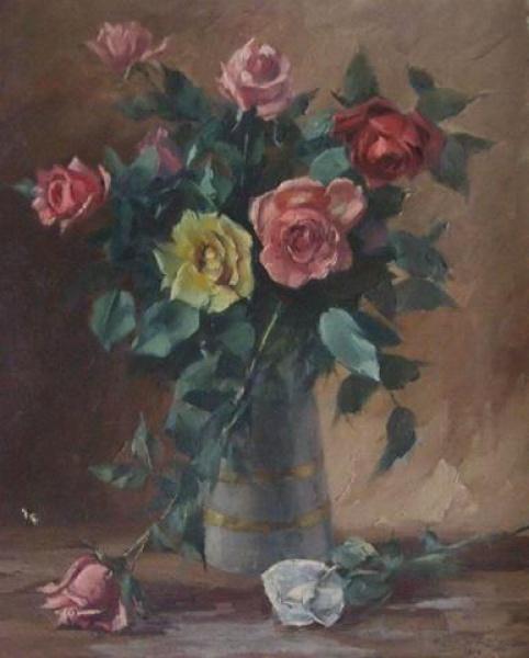 S. Botelho - Óleo Sobre Tela - 1954 - Jarro de Flores, 49x 60cm.