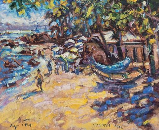SÉRGIO TELLES [1936],Ilhabela, óleo smadeira, 2008 ,38 x 46,5 cm