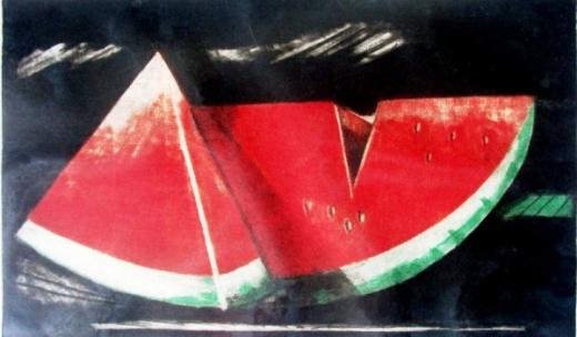 Valério Rodrigues, gravura , 1988, emoldurado, 30x5cm