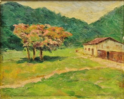 VIRGÍLIO LOPES RODRIGUES (1863-1944). Paisagem com Casinha Rural e Sapucaieira, óleo s madeira, 14 x 16.