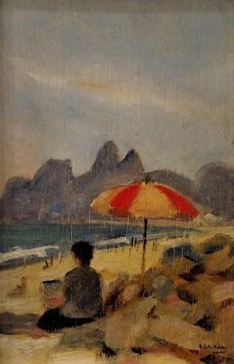 ALFREDO GALVÃO - PAISAGEM DO RIO, ÓLEO SMADEIRA, DATADO 1962, MEDINDO 23 X 15 CM