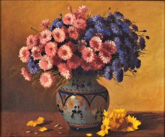 DOMINGOS GEMELLI (1903 - 1985) - Natureza Morta com Vaso de Flores, OST, 45 x 55cm.
