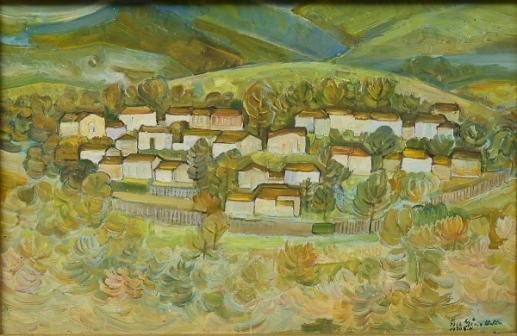 GEZA HELLER (1902-1992). Panorama de Vila de Casas no Interior, óleo seucatex, 42 X 60. Assinado e datado (1966)