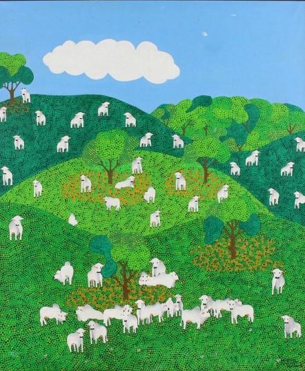 Hamilton Cordeiro - Naif `Cena Rural`. Acrílica sobre tela. Ass. Cid. 65 x 55 c