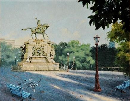 JOSÉ COELHO - Praça Tiradentes-, decada de 1960 ost colado sobre Eucatex, 35,80 x 45,00