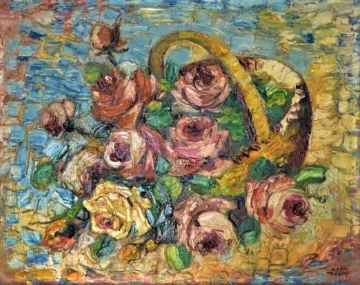 MARIO ZANINI (1907-1971) - Cesto com Flores. Óleo stela. Ass. cid. 46 x 55 cm.