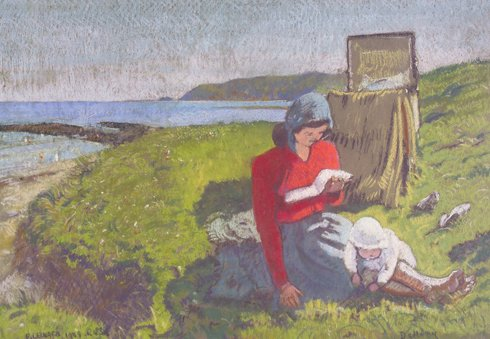 Patrick Leonard, HRHA, (Irlanda, 1918-2005) The Afternoon Read Pastel, 51 x 73cm,1948