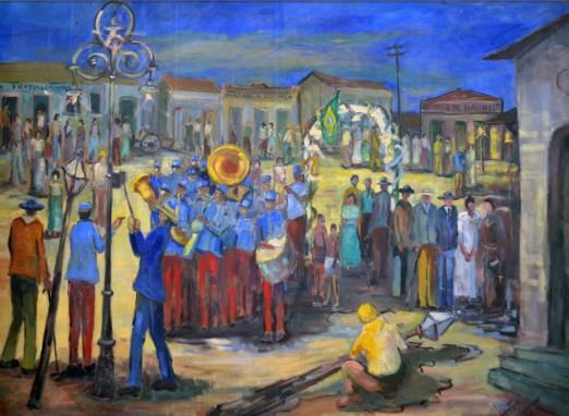 Walther Mortari (Brasil, 1923) 1911 Inauguração elétrica de Bauru. ost de 1,60 x 2,15 m, 1986