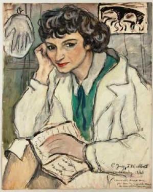 Claude Juppet-Malbet (French, 20c).Henriette Morel, 1945. pastel e fusain,