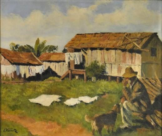 E. VALENTA (BAHIA-1900). Paisagem com Casario, Camponês e Cãozinho, óleo s tela, 60 X 70. Assinado no c.i.e