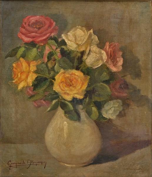 GEORGINA DE ALBUQUERQUE - Vaso de Flores, O.S.T, assinado no canto inferior esquerdo.45x37 cm.