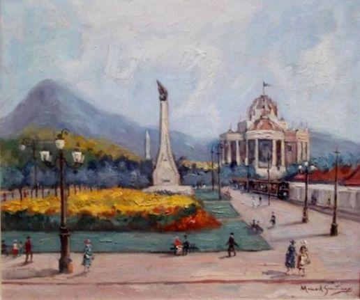 Paisagem do Rio de Janeiro com o Palácio Monroe Manoel Santiago (Brasil, 1897-1987) óleo sobre madeira, 47 x 57 cm