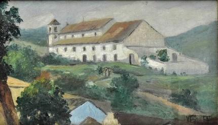 VIRGILIO TENORIO FILHO- Igreja de Nossa Senhora da Conceição, óleo sobre tela, 30 x 50 cm. No verso, assinado, titulado, localizado e datado- Paty dos Alferes 1965.