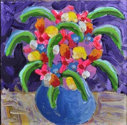 AUGUSTO HERKENHOFF, Flores, óleo sobre tela , 40 x 40 cm , assinado e datado - 2006