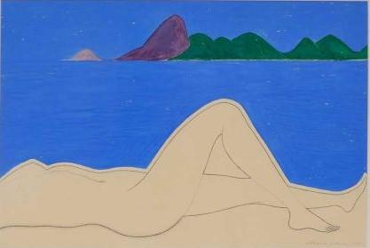 DÉCIO VIEIRA - Guache - 1922 - 1988, série Guanabara, assinada no c.i.d. datada 1971. Adquirido da família do artista com recibo. 75 x 49 cm