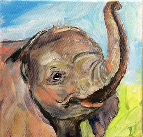 _Demeter_BabyElephant David Drinnon (oil), Baby Elephant by Anne Demeter (acrylic)