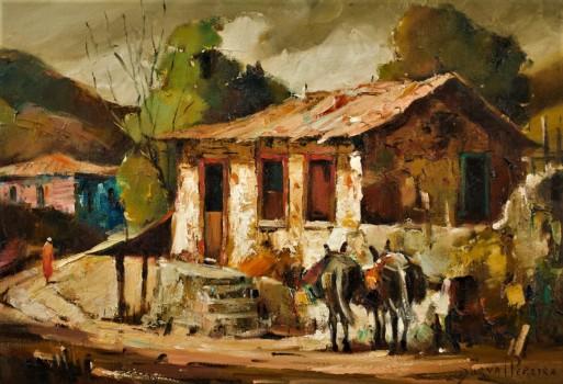 DURVAL PEREIRA - (1917 - 1984)Paisagem - óleo sobre tela - 38 x 55 cm -