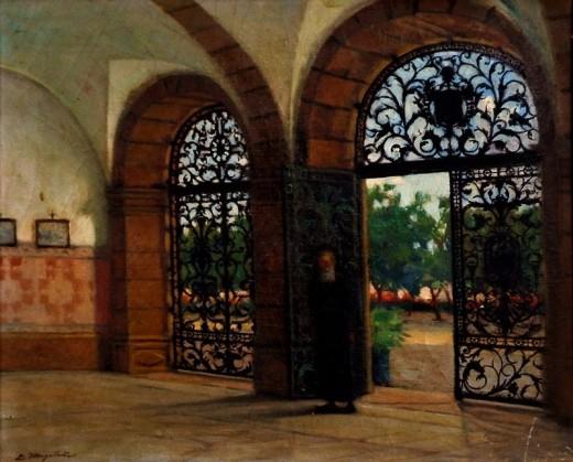 EMIDIO MAGALHÃES (1905-1990) Portão de convento em Salvador - BA,ost,38 X 48