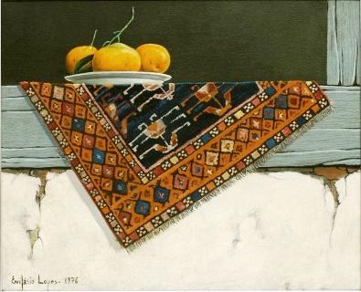 EVILÁSIO LOPES (Brasil, 1917-2013) , óleo sobre tela,Natureza Morta, medindo 33 cm por 40 cm.