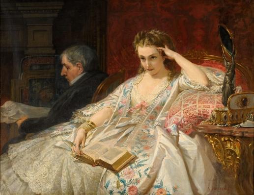Heullant, Félix Armand 1834 Paris - 1905 Paris In Gedanken. Signiert. Öl-Lwd., 114 x 145 cm