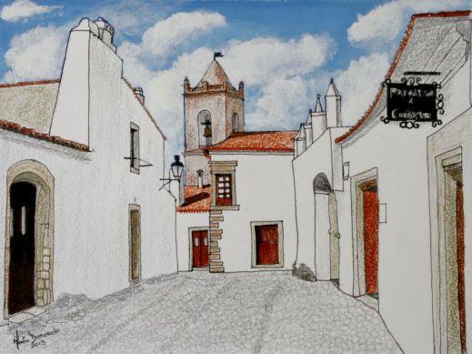 Inês Dourado (Portugal, contemporânea) Monsaraz VI, 2013,acrílica sobre papel, 17 x 23 cm