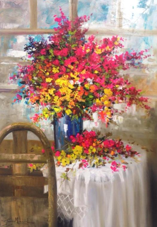 Jorge Maciel (Brasil, 1972) Floral, ost. 70x110cm