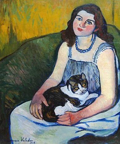 Jovem com gato, Suzanne Valaton