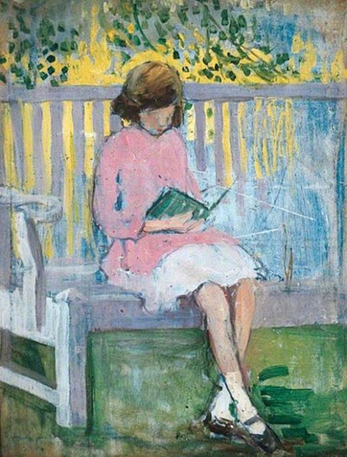 mary ethel hunter(1878–1936), girl reading. oil on wood, 41.2 x 32.4 cm. leeds museums and galleries, uk