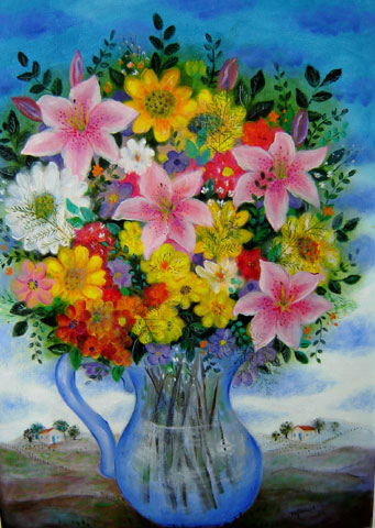 Marysia Portinari (1937)Vaso de flores,Óleo sobre tela50 x 70 cm