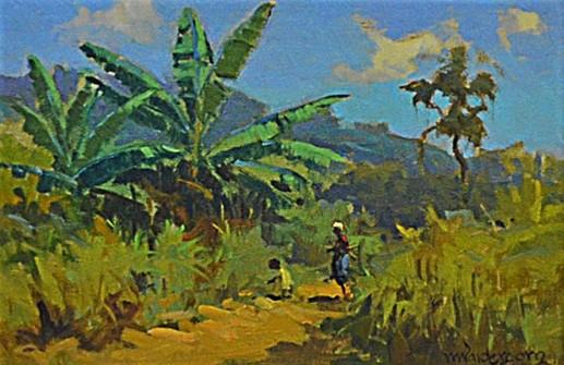 Menase Vaidergorn (Brasil 1927) Paisagem com figuras- osm - 20 x 30 cm. Ass.