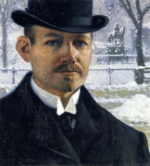 Paul Gustave Fisher (Dinamarca,) autoretrato, 1909, ost, 41 x 38 cm, col part.
