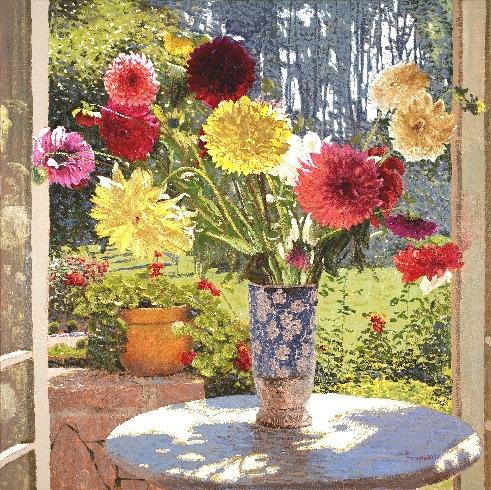 Raquel Taraborelli (Brasil, 1957) Dálias Impressionistas - Pintura de Flores ost 100x100